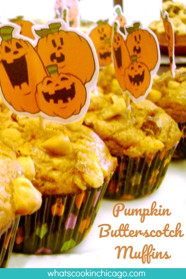 pumpkin butterscotch muffins topped with Halloween pumpkin cupcake toppers