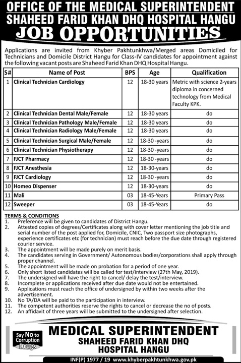 Jobs In Shaheed Farid Khan DHQ Hospital Hangu May 2019