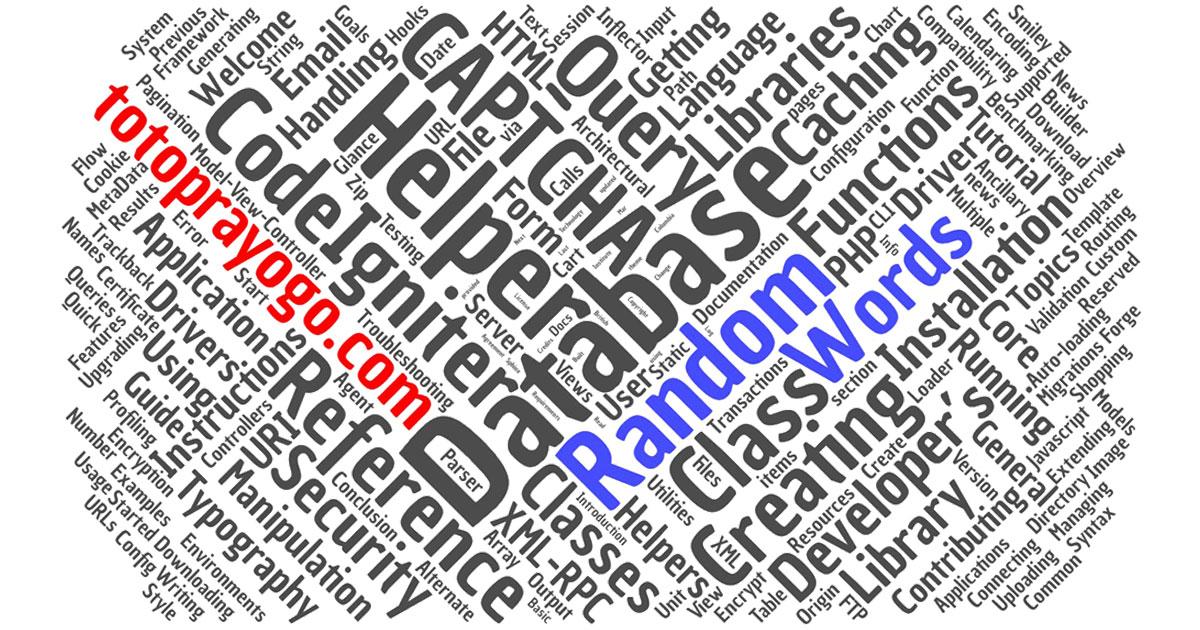 cara membuat generator random words kata acak codeigniter