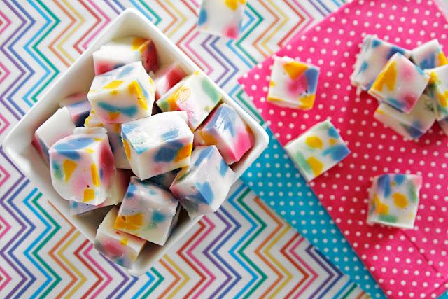 "Homemade pastel multicoloured ""stained glass"" gelatin gummy dog treats"