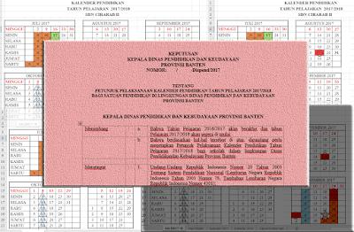 SK Kadis Provinsi Banten dan Kalender Pendidikan Tahun 2017/2018