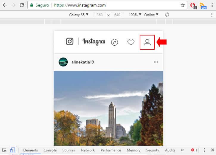 Usando a versão móvel do Instagram pelo PC para apagar conteúdo