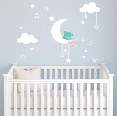 osito luna nubes estrellas vinilo infantil bebe