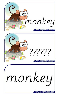 monkey printable flashcards