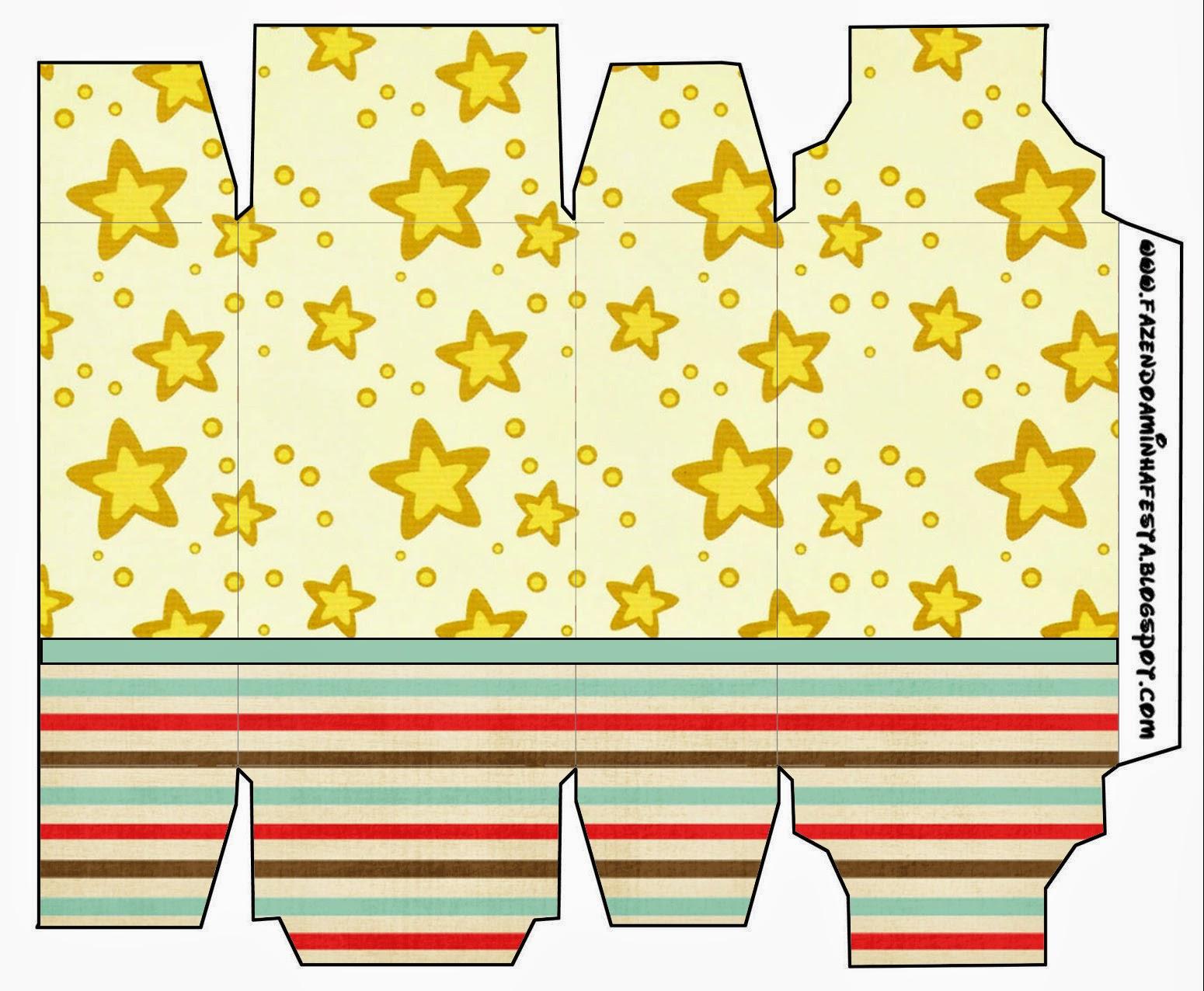 Cajas para Imprimir Gratis de Estrellas Doradas y Rayas de Colores.