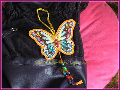 Cross stitched butterfly charm on plastic canvas 2