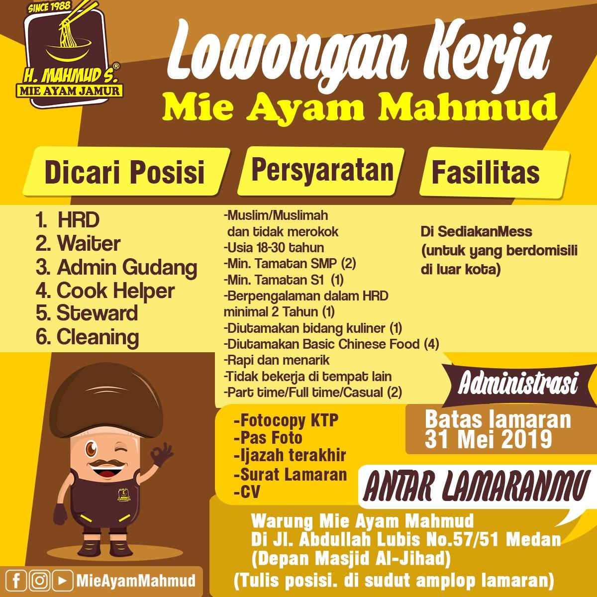 Info Loker Medan Terbaru Di Mie Ayam Mahmud Medan Medanloker Com Lowongan Kerja Medan