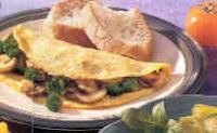 Omelette de champiñones y brocoli