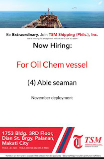 SEAMAN JOB VACANCY - Available jobs hiring for able seaman join onboard on oil chemical vessel deployment November -December2018.