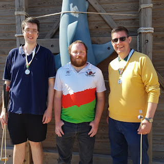 The Welsh Doubles Championship silver medalists with Martyn Williams, captain of the Welsh Mini Golf Club