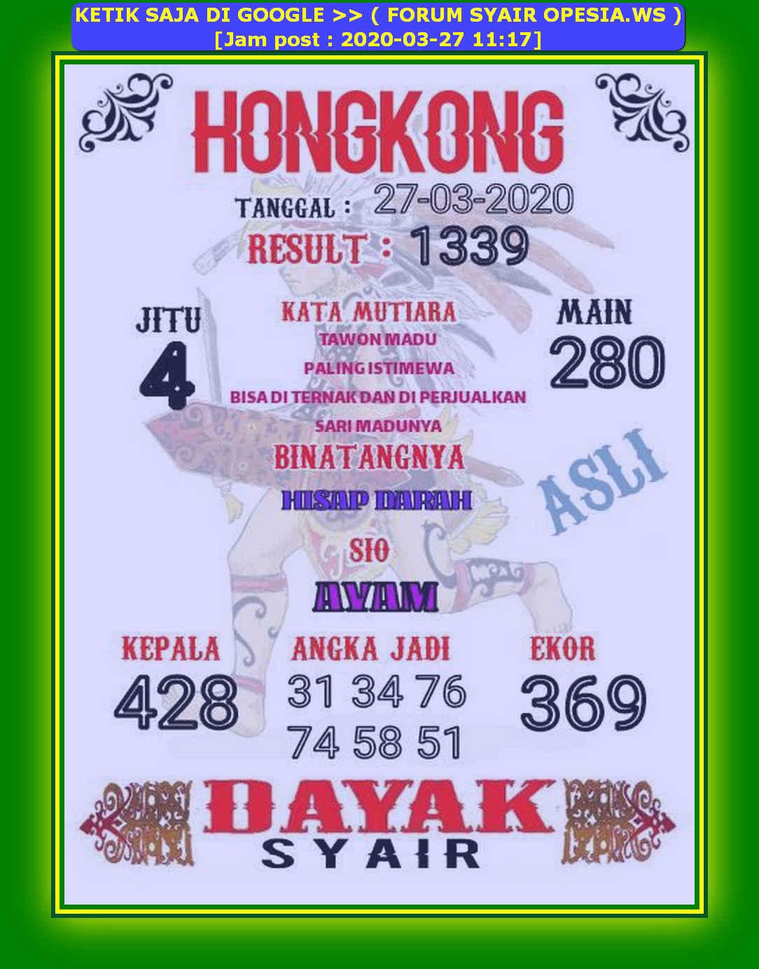 Kode syair Hongkong Jumat 27 Maret 2020 81