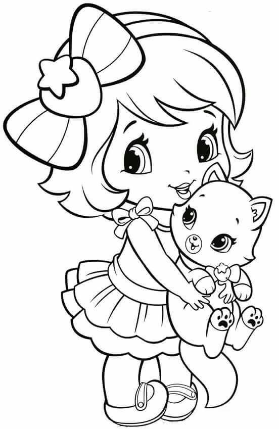 Tranh tô màu bé gái ôm con mèo