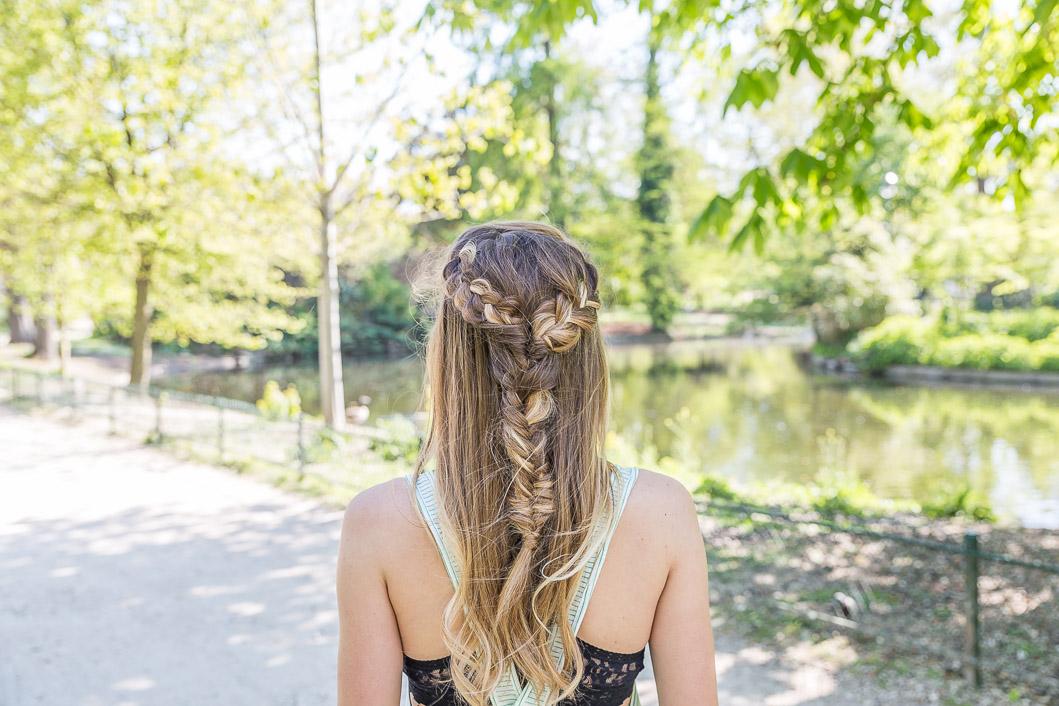 tresse épi double cheveux longs