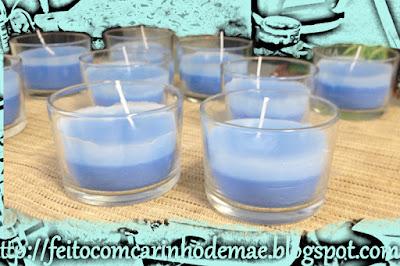 centro de mesa festa Frozen, velas artesanais