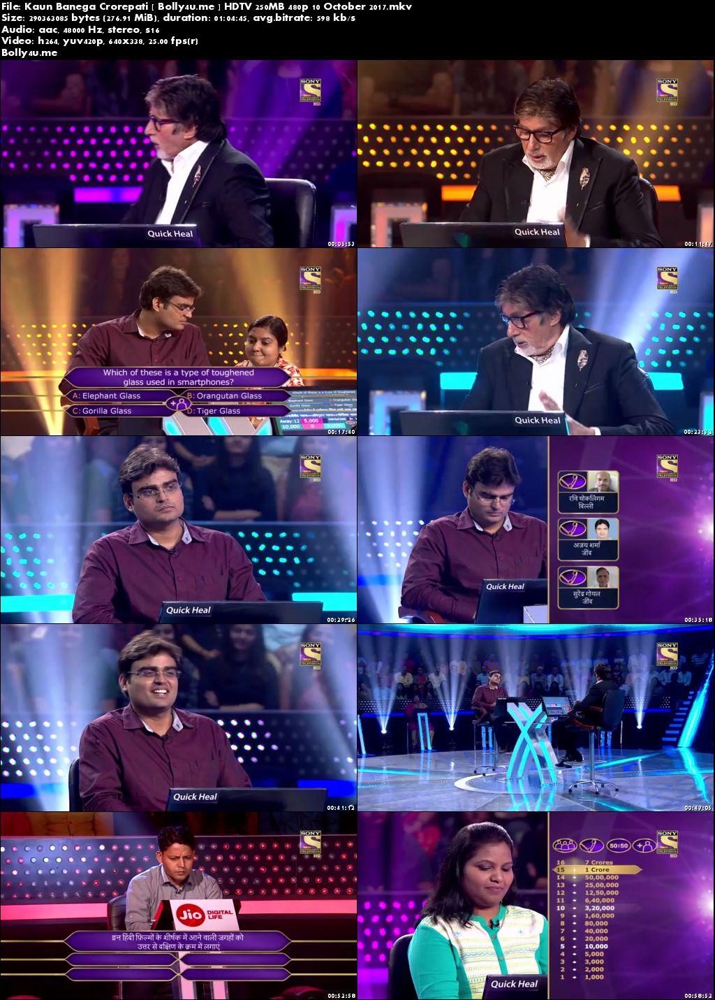 Kaun Banega Crorepati HDTV 480p 250MB 10 October 2017 Download