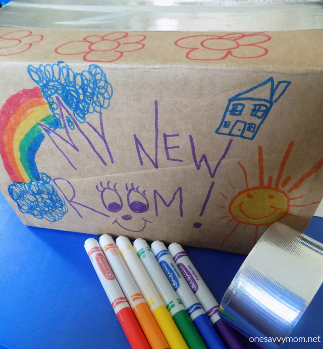 Cute Make packing a fine FUN art Set toddlers and younger children up with a stack of boxes markers crayons stickers and patterned packing tape in their
