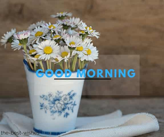 good morning flowers photo with vase