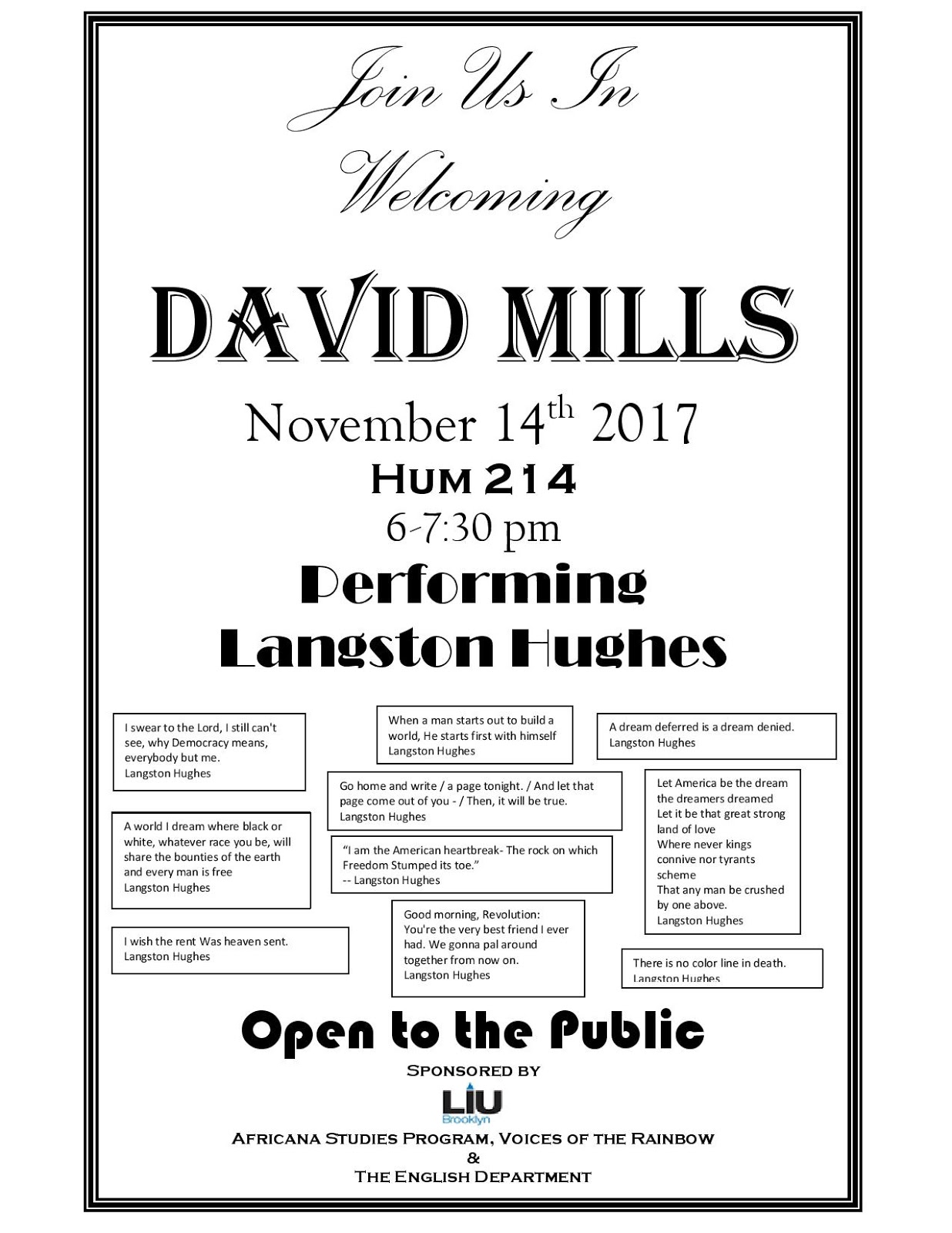 the longest island: David Mills Performing Langston Hughes