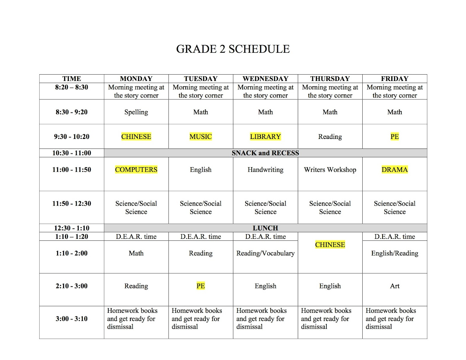 Mr Anderson 2nd Grade His Class Schedule