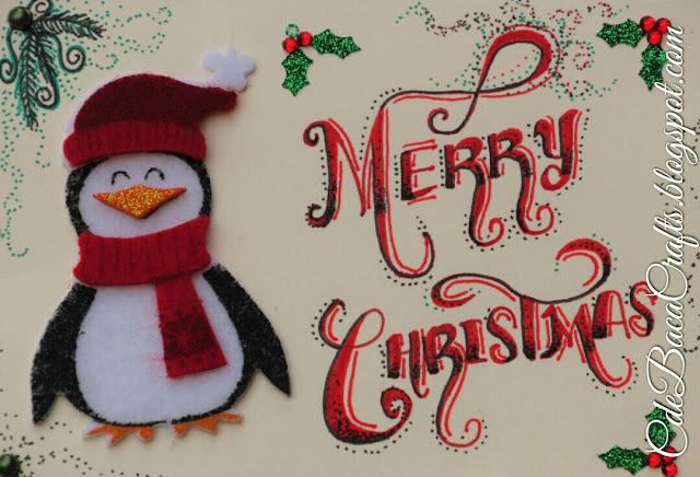 Penguin Christmas Card by CdeBaca Crafts blog.