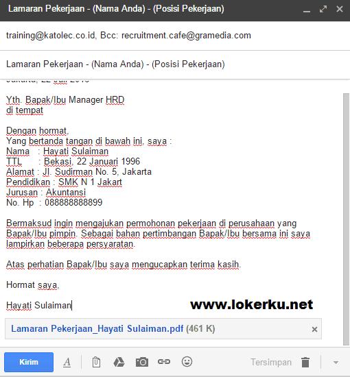 Contoh Body Email Lamaran Kerja