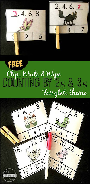 FREE Counting by 2s and Counting by 3s Clip, Write & Wipe cards with a fun fairy tale theme. These are great hands on math to help prek, kindergarten, and first grade practice skip counting in a FUN way. (homeschool, math centers)