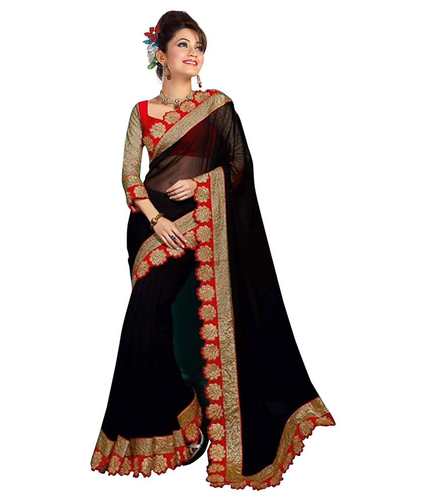 women in red and black sari