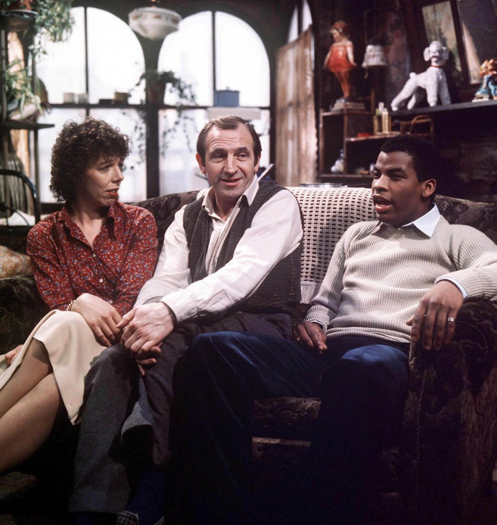 A still from Rising Damp depicting Ruth Jones, Rupert Rigsby and Philip Smith