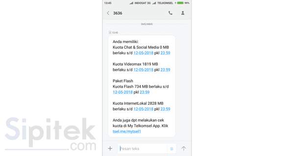 SMS rincian sisa kuota