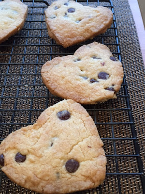 Valentine's Choc Chip Shortbread Biscuits on cooling rack close up