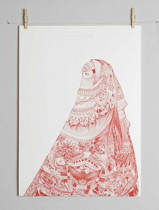 Al Niqab Al Hamra by Emilie Imán graphic design poster #art #graphicdesign