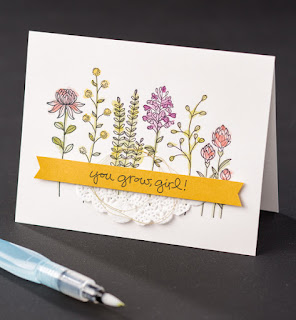Stampin' Up! Sale-a-bration 2016 Flowering Fields Card #stampinup #sab2016 #saleabration www.juliedavison.com