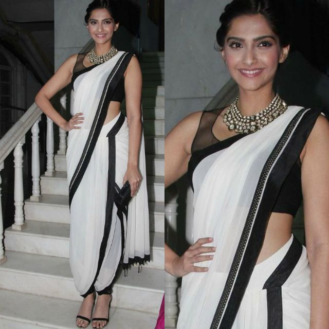 Sonam Kapoor without a doubt looks quite elegant in this black and white saree