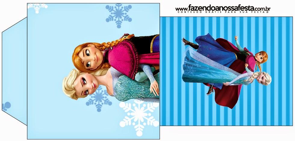 Bolsita de Té para imprimir gratis de Frozen en Navidad Azul.