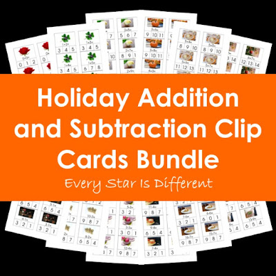 Holidays Addition and Subtraction Clip Cards Bundle