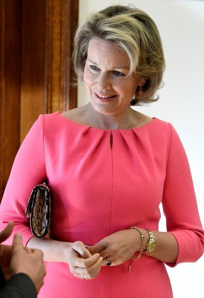 Queen Mathilde wore a pink midi dress by Natan. Natan is a fashion house founded by Edouard Vermeulen