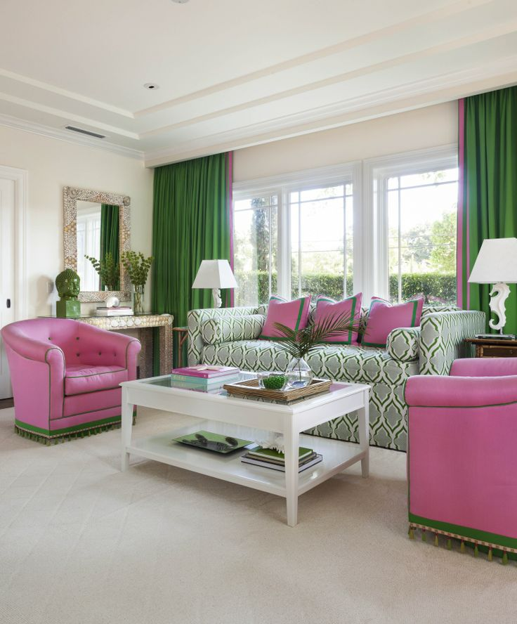 Pink Living Room Ideas: Chinoiserie Chic: Pink And Green Coastal Chinoiserie