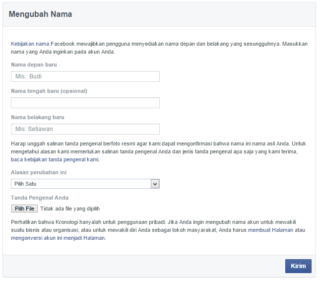 Ubah nama facebook