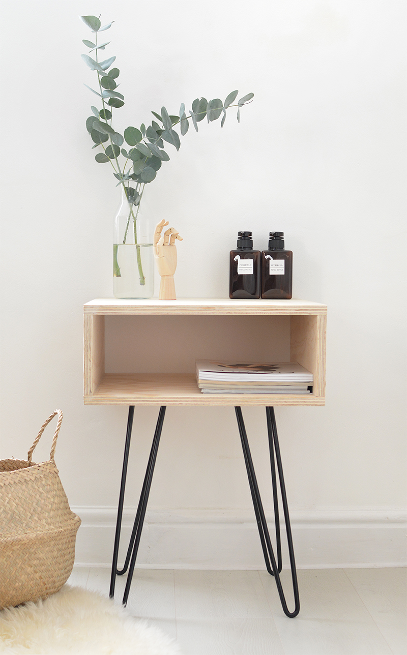 PLYWOOD AND HAIRPIN LEGS NIGHTSTAND