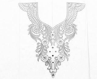 How to draw an easy neck design for embroidery.neck design patterns for blouse embroidery design,hand works and machine work.