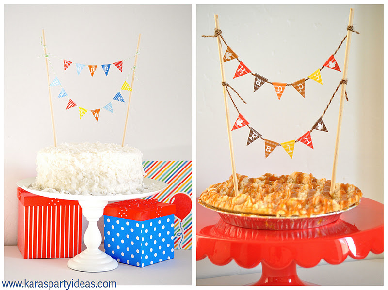 FREE Mini Cake Pennant Bunting For Thanksgiving Fall Birthdays