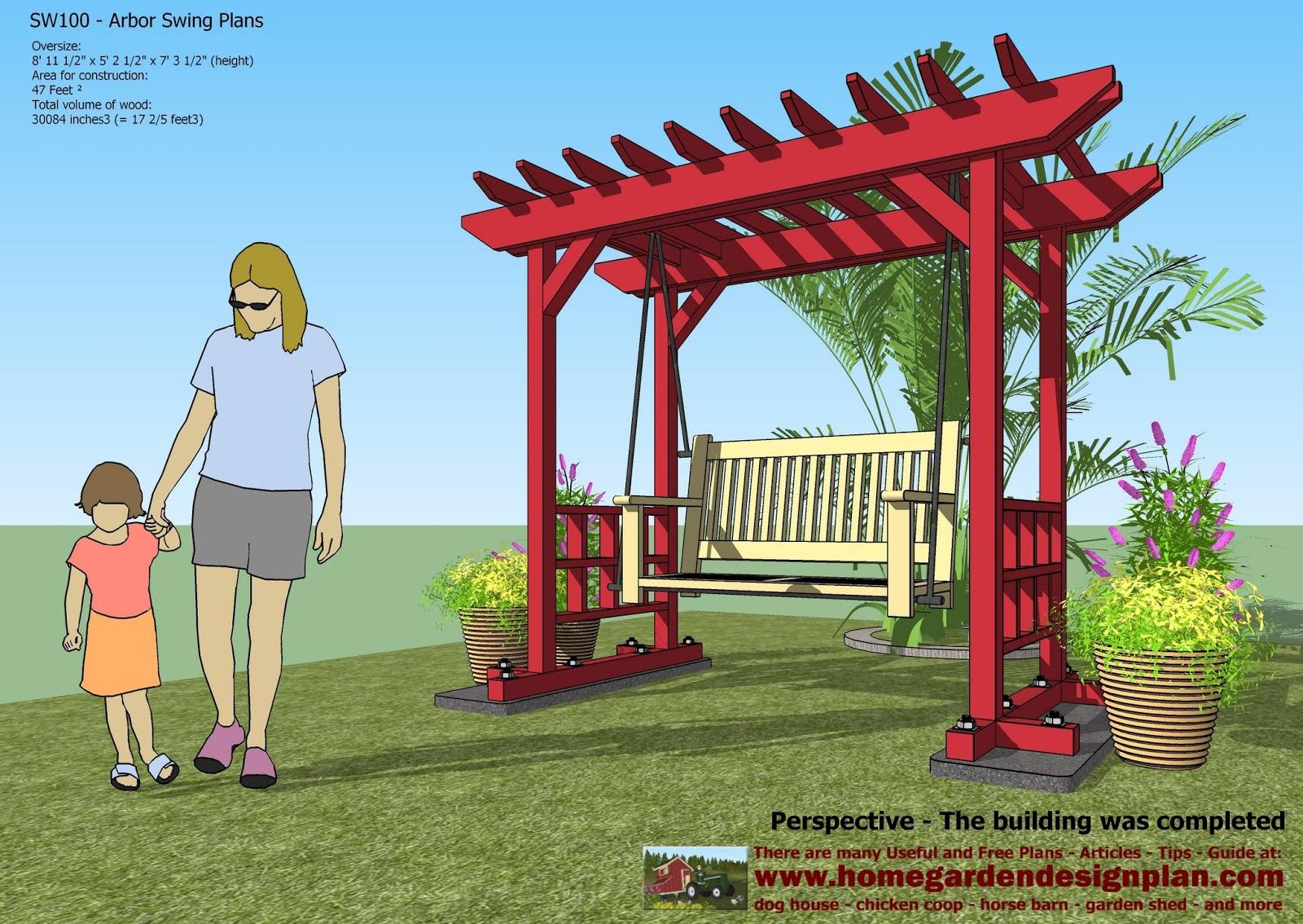 home garden plans home garden plans SW100 Arbor Swing Plans – Garden Swing Plans
