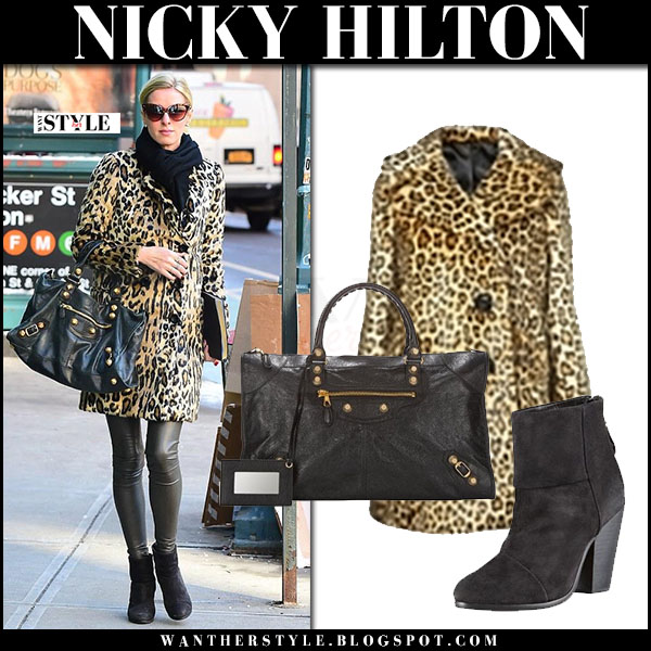Nicky Hilton in leopard print coat topshop, black leather leggings, black ankle boots with black bag balenciaga arena giant what she wore