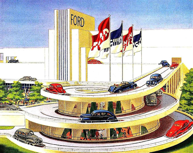 1939 NY World's Fair Ford spiral ramp in color