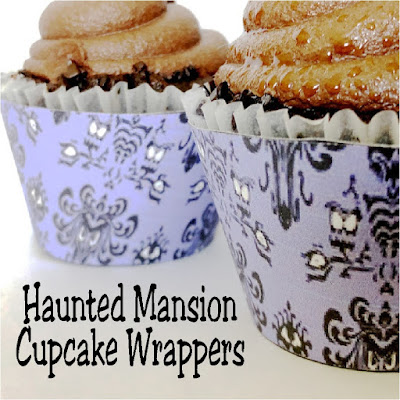Print out these Haunted Mansion wallpaper cupcake wrappers for your Halloween party and turn store bought cupcakes into a hauntingly awesome party treat.  Such a simple way to add some fun to your dessert table tonight!   #halloween #cupcakewrapper #printableparty #hauntedmansion #diypartymomblog