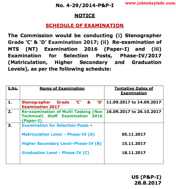 Stenographer 2017 and MTS 2016 SSC Exam Schedule