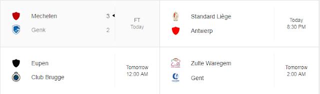 Jadwal Liga Belgia
