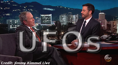 Fmr President George Bush Won't Talk 'Secret UFO Documents' On Jimmy Kimmel Show
