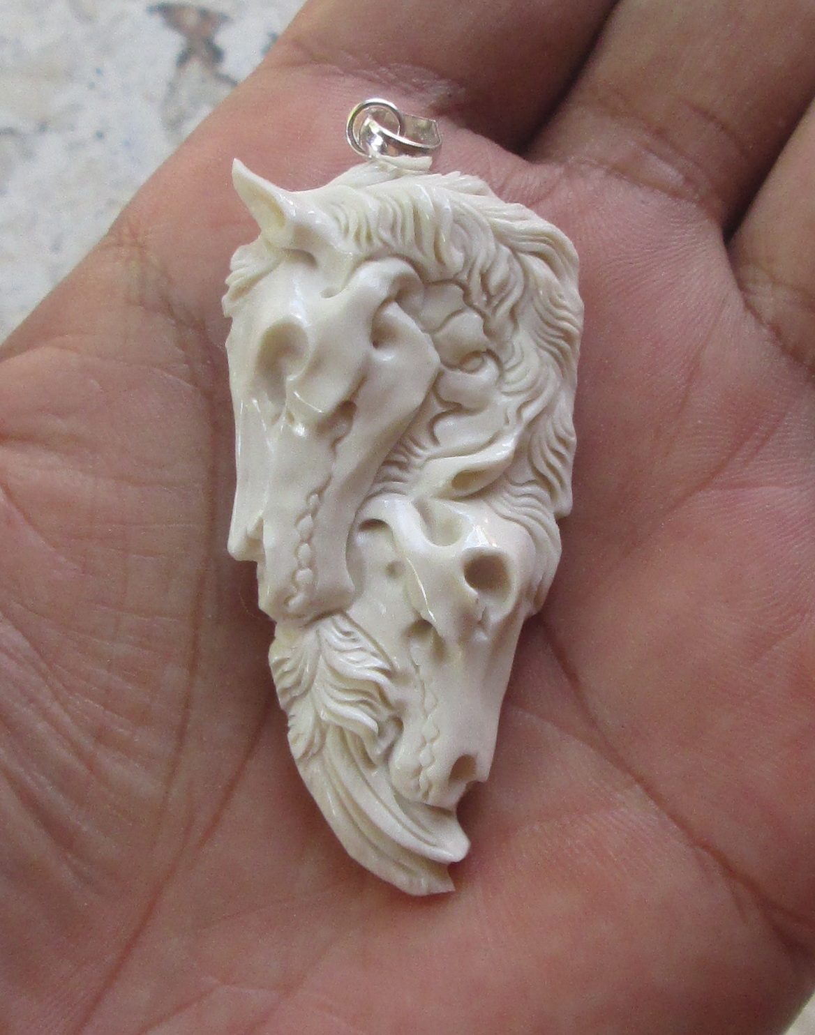 Hand Carving Horses Pegasus Group In Buffalo Bone Pendant w Sterling Silver Bale
