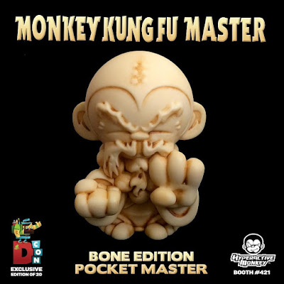 Designer Con 2016 Exclusive Bone Edition Pocket Monkey Kung Fu Master Resin Figure by Hyperactive Monkey